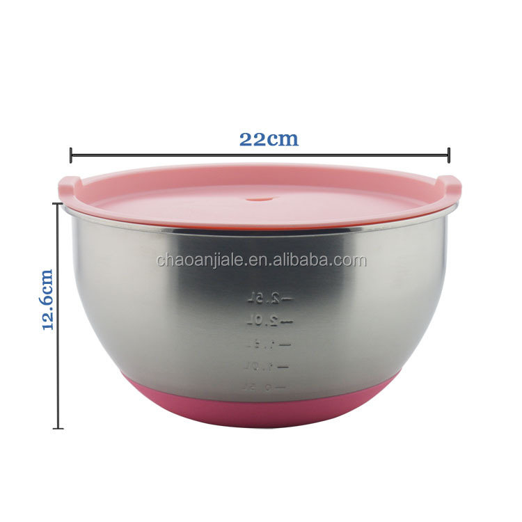 22cm Stainless steel mixing bowl with silicone bottom and lids