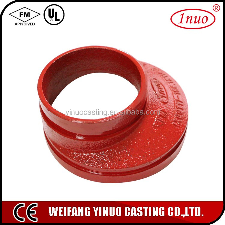 Fire fighting pipe fittings FM/UL grooved eccentric compressed gas reducer