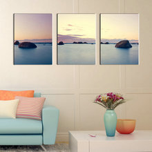 Modern Abstract Group 3 Pieces Canvas Art Seascape Painting