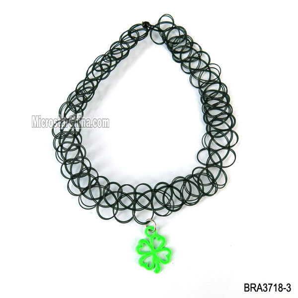 Retro Sexy Black Stretch 4 Leaf Clover Charm Tattoo Henna Choker Necklace