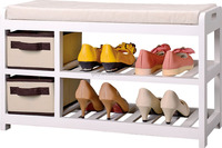 Entry Shoes Storage Bench with cushion wooden