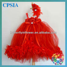 HOT!baby feather dress with headband set red fluffy baby dress beautiful dress for children