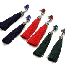 Cheap wholesale tassel style jewelry long red tassel stud earrings with crystal for party girls