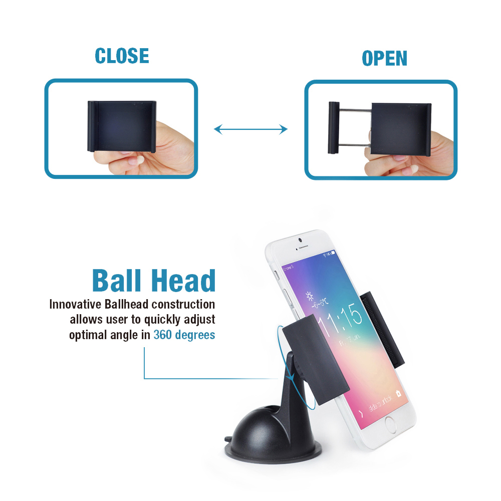 Apps2car Strong Suction Gel Suction Cup Mount, 360 Degree Rotating Cell Phone Holder