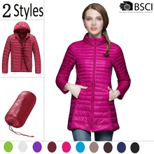 StockLot Italy Long Wooland Waterproof 90% Down 10% Feather Comfy Ultra Thin Foldable Women Down Jacket For Winters Woman