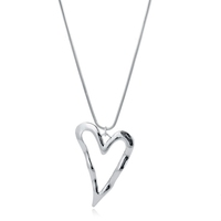Silver Plated Tiny Heart Pendant Fashion Women Necklace