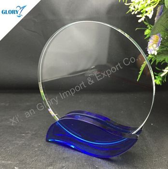 wholesale Round award trophy with blue base