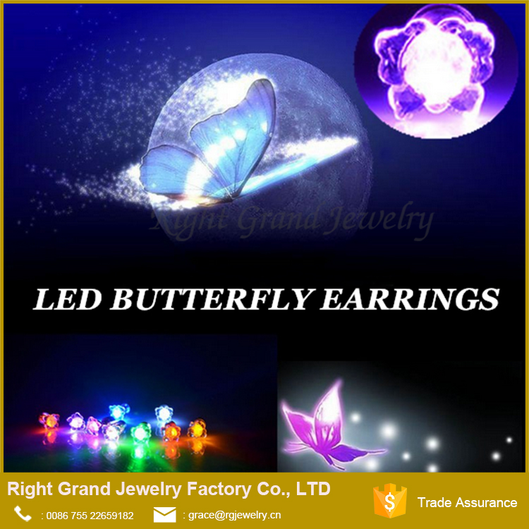 Fashion Butterfly Bling Light UP LED Earring Ear Studs