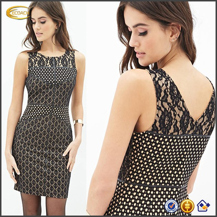 Ecoach 2016 Wholesale Sample Off-shoulder Sexy V-back Newest Young Fashion Bodycon Lace Embroidered Dress For Women