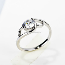 Wholesale Wedding Ring Platinum Plated Round CZ Cut Diamond Rings Women Finger Ring