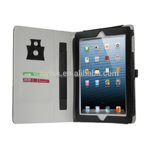 PU Leather Case Cover with Elastic Hand Strap/ Front Pocket/ Multiple Card Holder for ipad mini 3