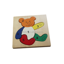 Bear shaped cartoon wooden toys puzzle for kids
