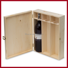 3 Bottle Pine Wood Wine Packaging Box