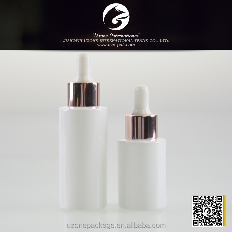 rose gold dropper cap, 20/415 dropper cap, white color painted essence bottle with rose gold cap