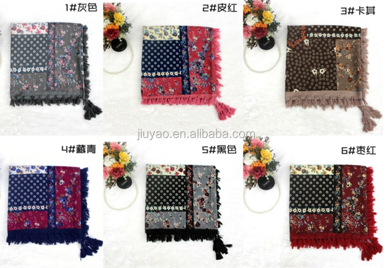 ladies Twill geometric printing Cotton fringed cotton square scarf