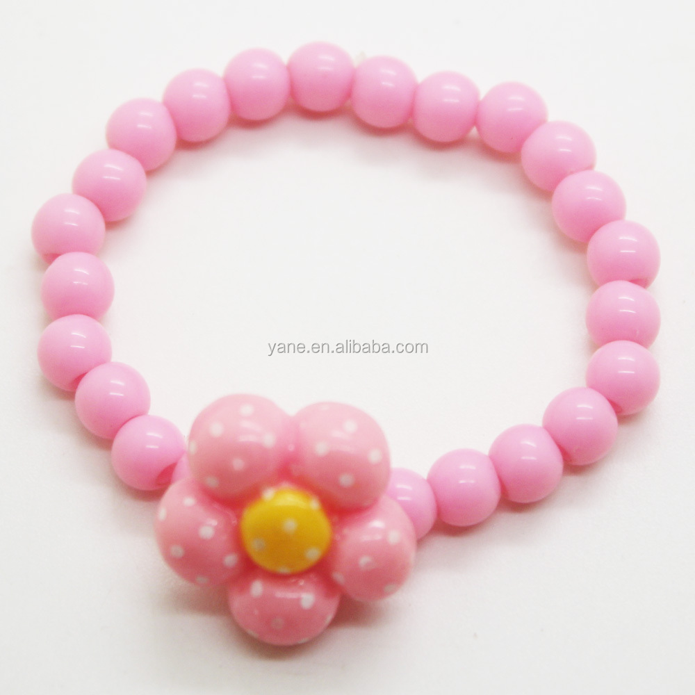 Beaded bracelets with plastic flower for kids girls