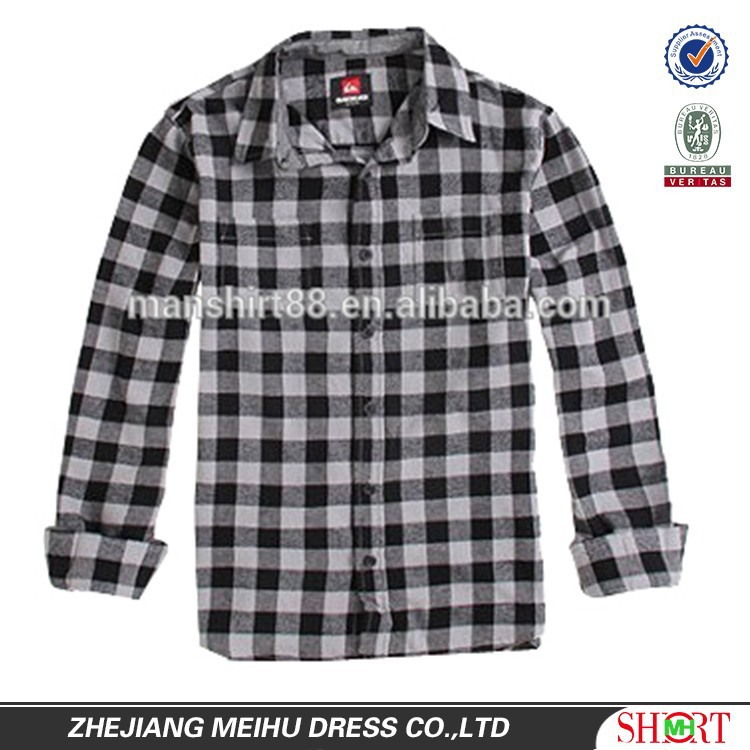 new men's long sleeve checked flannel casual shirt