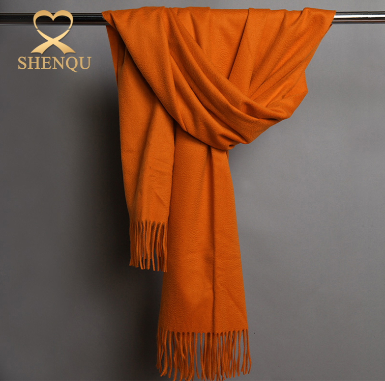 plain solid colors oversized wool acrylic blending scarf shawl, ladies fashionable wool cashmere shawl wraps with fur balls