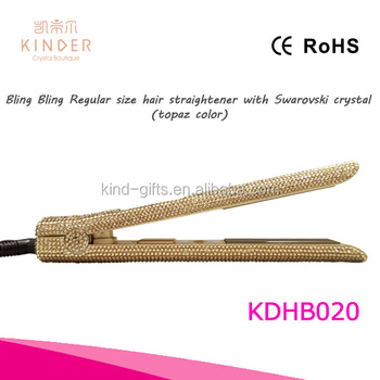 Gold style shining bling crystal inlaid high tech magical cheap hair brush straightener