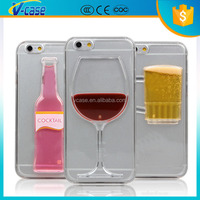 Hot sale Red Wine Cup Liquid Transparent Case Cover For Apple iPhone 4 4S 5 5S 6 6S 6 Plus