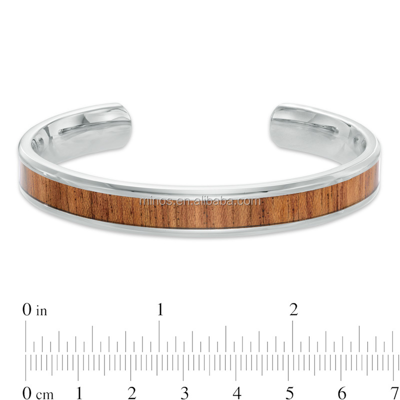 China Wholesale High Quality New Product Wood Inlay Bangle Jewelry Mens Stainless Steel Bracelet
