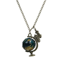 New Fashion Link Curb Chain Antique Bronze Globe Telescope Pendants Necklace