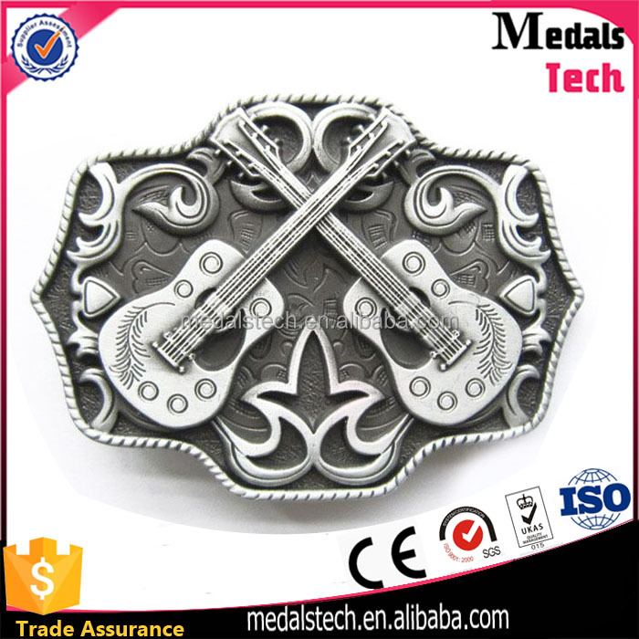 China manufacturer hign quality antique silver 3d metal music item antique belt buckle