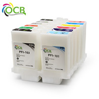 12 Colors 130ML/PC For Canon PFI 101 03 Empty Refillable Ink Cartridge With Chip For Canon iPF 5100 6100 Printer