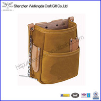 Tools 5-Pocket Brown Leather Pouch drill holster Worker Bag Organizer Hand Tool Storage