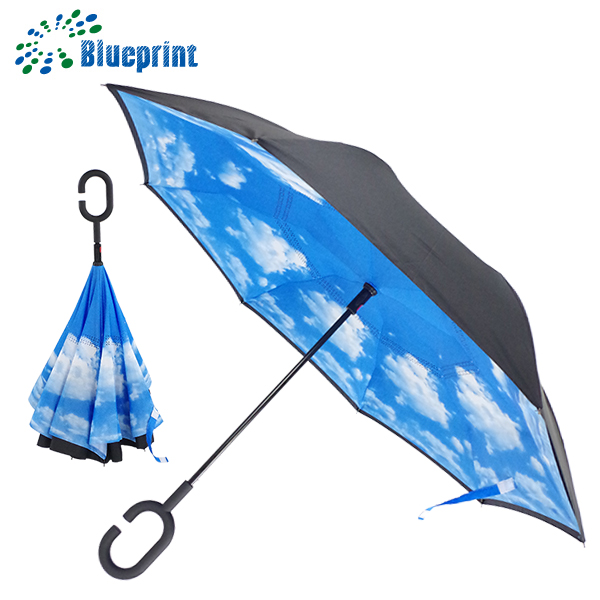 Chinese imports wholesale hands free C handle umbrella inverted