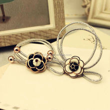 Wholesale elastic hair ties handmade flower with two bead ponytail holder bow-tie alloy metal accessories for women girls kids