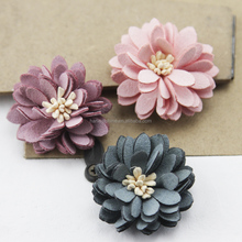 Decorative 3d handmade small microfiber fabric flowers for shoes