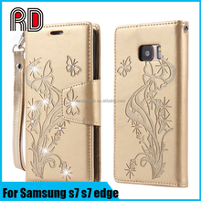 For samsung s7 s7edge luxury leather wallet case, printing butterfly in flowers bling diamond card holder phone case