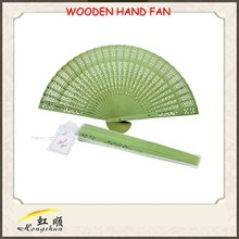8'' hot sale 100% handmade grass green craft decorative wooden hand fan