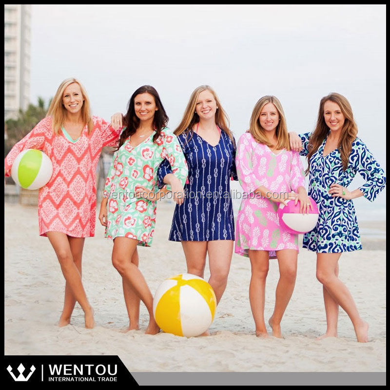 Monogrammed Pineapple Printed Tunic Swim Cover Up