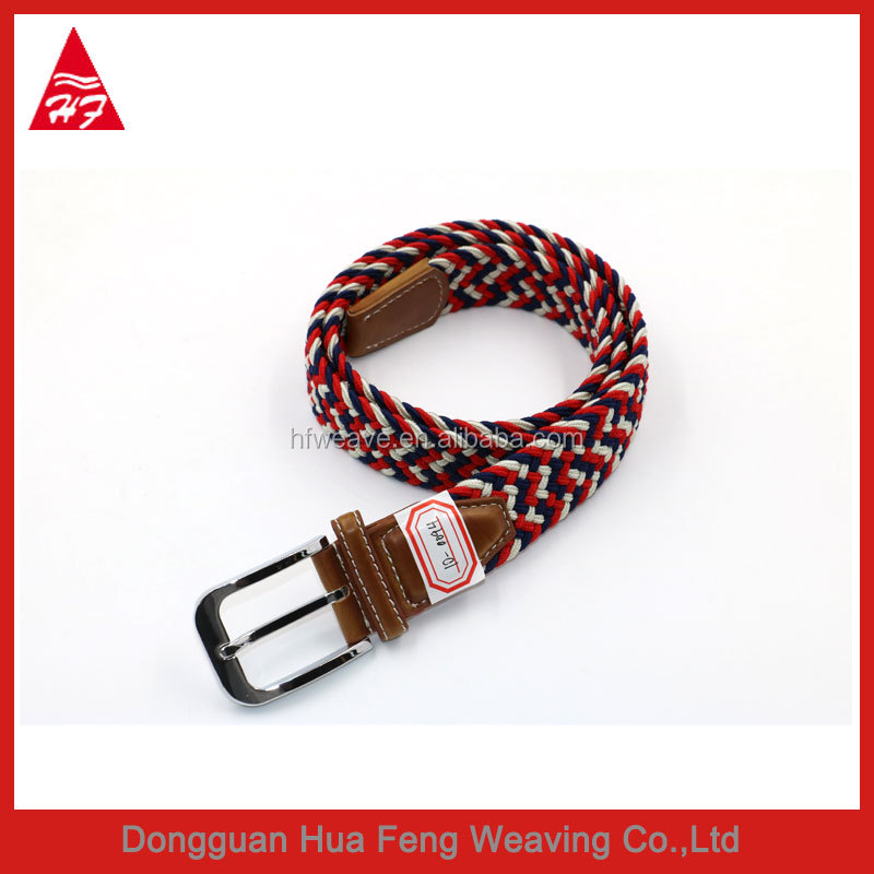 Hot sale red color alloy buckle fabric elastic webbing belt for women