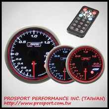 52mm Prosport Analog Gauge Series WRC Boost Turbo w/Amber & White & Blue Gauge w/Waterproof sensor