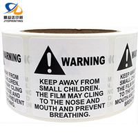 Manufacture Custom Printing Self Adhesive Suffocation Warning Label Sticker
