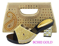 BCH01 gold high quality elegant party shoes matching bag crystal evening shoes with stones purse evening bag
