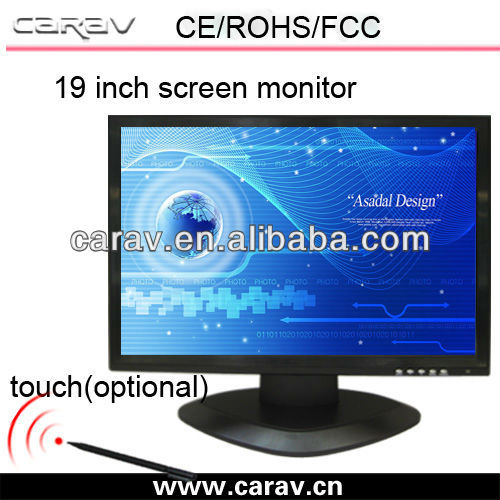 composite video input touch screen Lcd Monitor 19'' With DVR+HDMI+VGA