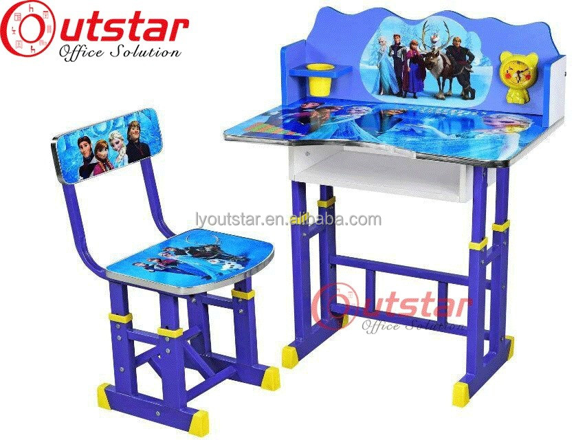 Used School Area Kid Steel Furniture Plastice Desktop and Metal Legs with Chroming Student Single Desk and Chair