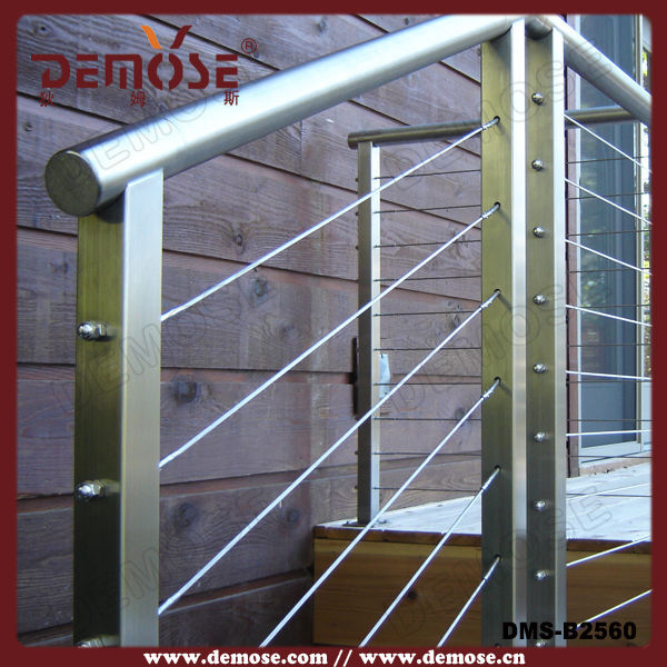 Stainless Steel Wire Stair Guard Rails With Rod Post - Buy Stainless ...