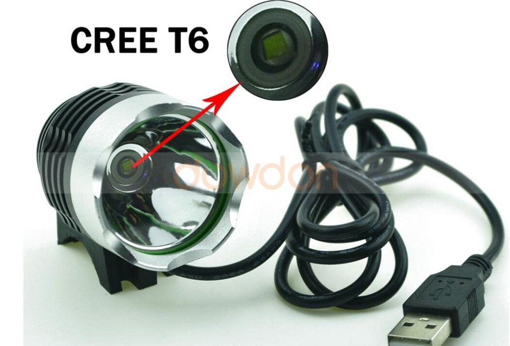 USB 5V Rechargeable CREE XM-L T6 1600LM Max LED Bike Bicycle Light