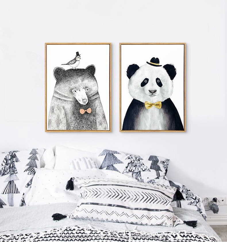 Wholesale modern simple style animals bear and panda decorative oil painting on canvas