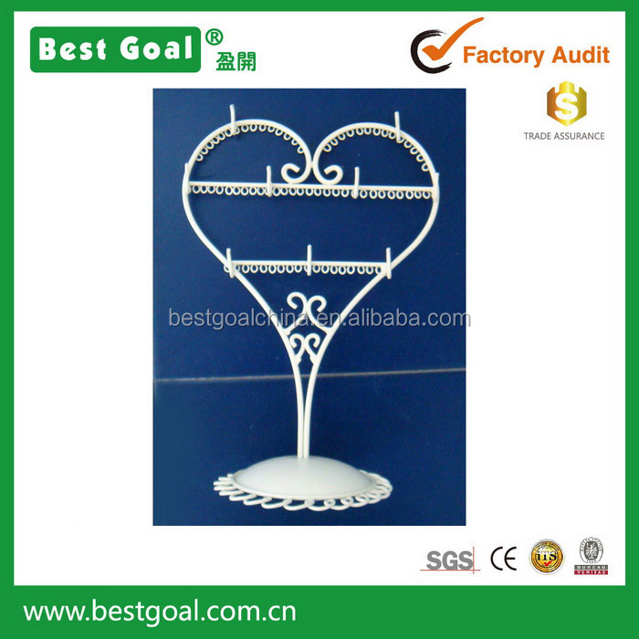 Home decor metal craft wire jewelry display stand heart shape