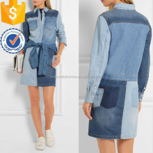 Long Sleeves Blue Denim Mini Shirt Daily Dresses For Ladies Manufacture Wholesale Fashion Women Apparel (TS0345D)