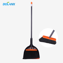 black classic long stick broom,natural wooden broom handle with a dustpan