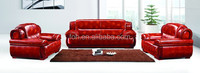 European style wood frame red leather office sofa (FOH-9802)