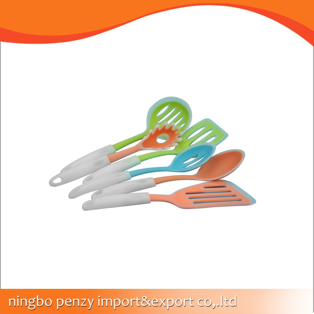 silicone kitchen utensil with plastic handle