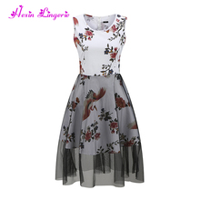 Top Selling floral crane printing cotton summer dress designs fat ladies